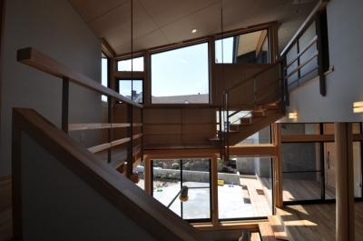 吹き抜け階段 (那須の別荘)
