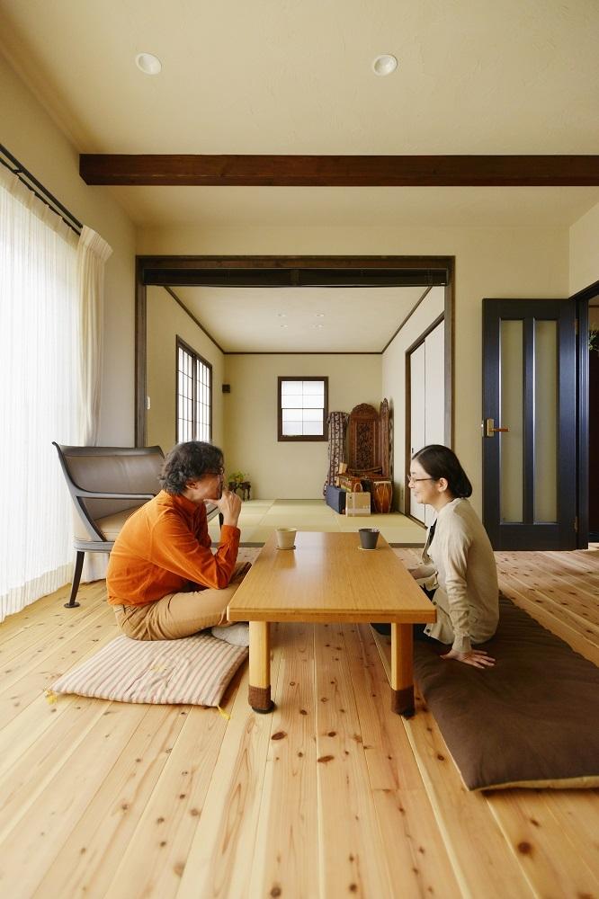 東京都町田市S様邸 ~暮らしが活きる大人の古民家風リノベ―ション~ (和室を取り込んだリビング・リビングダイニング)
