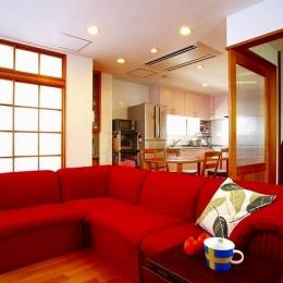 栃木県宇都宮市の鉄骨造3階戸建てリフォーム SS-house (リビング)