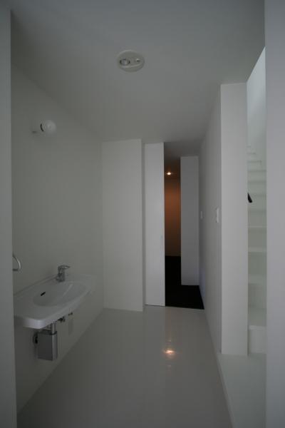 廊下の洗面コーナー (鳥取のミニマルデザインの家 OUCHI-02)
