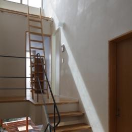 公園を借景にしたスキップフロアの家 (階段)