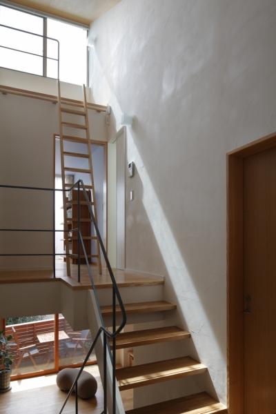 階段 (公園を借景にしたスキップフロアの家)