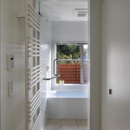 公園を借景にしたスキップフロアの家 (浴室)