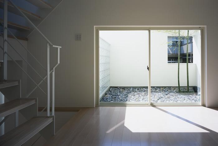 上連雀の家~北側採光のリビングの部屋 坪庭