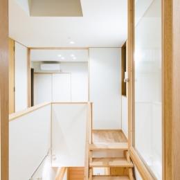 富士見坂の家 (書斎小窓から階段吹抜を見る)