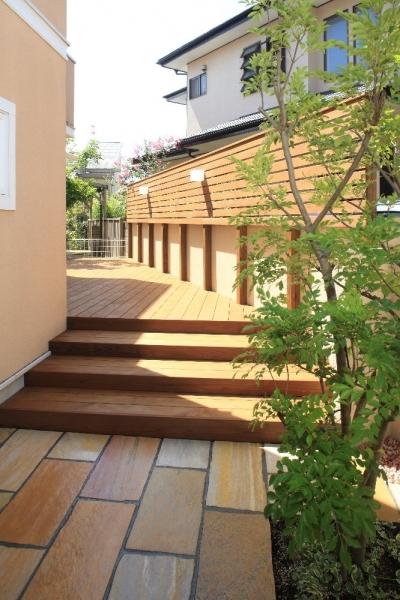 横浜市M邸:リ・ガーデン (ウッド階段ステップ)