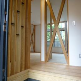 西小山の家 (玄関からリビングダイニング方向を見る)