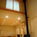 銚子の家の写真 リビングダイニング吹抜を立上る薪ストーブの煙突