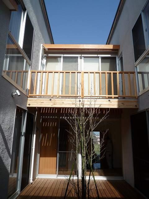 銚子の家の部屋 中庭に植えられたヤマボウシ