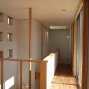 銚子の家の写真 2階廊下(左は玄関上の吹抜と手摺ポール)