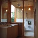 坪井町の家の写真 洗面室から浴室を見る