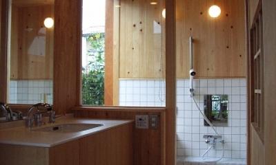 坪井町の家 (洗面室から浴室を見る)