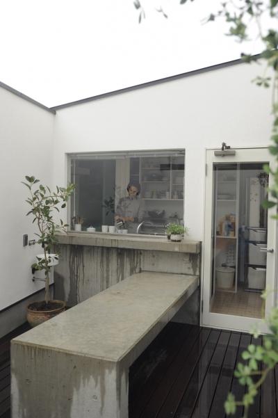 中庭に面するキッチン (静岡の二世帯住宅  中庭に小屋を持つOUCHI-15)