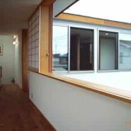 坪井町の家 (リビングダイニング東側窓から子供室南側の窓方向を見る)