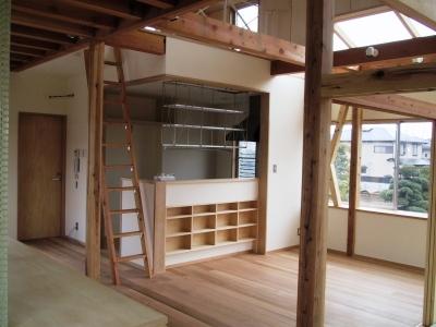 船橋S邸 (ダイニグキッチン(左はロフトへの梯子))
