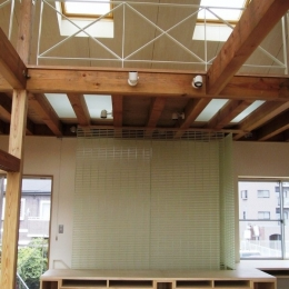 船橋S邸 (ロフト床の強化ガラスを通して光が差し込む)