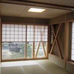 船橋S邸 (1階和室の雪見障子と筋交い)