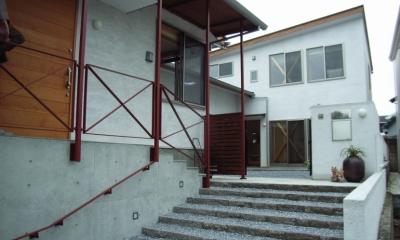 上本郷の家 (緩やかな階段で中庭へアプローチ)