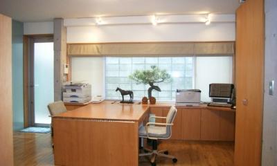 北区神谷の家 (居間兼仕事場(エクステンションデスクはオリジナル))