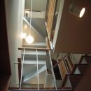 北区神谷の家の写真 階段から見上げた階段の構成