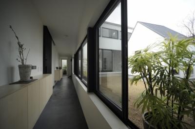 二世帯を繋ぐ玄関廊下 (オウチ15・静岡の二世帯住宅)