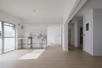 キッチン (新金岡団地の白いワンルーム|堺市の新金岡団地のリノベーション。壁、扉をなくして団地を白いワンルームに。)