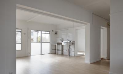 新金岡団地の白いワンルーム|堺市の新金岡団地のリノベーション。壁、扉をなくして団地を白いワンルームに。 (リビングダイニングキッチン)