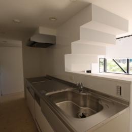 オウチ10・湧水を楽しむ家 (リビングを見渡すキッチン)