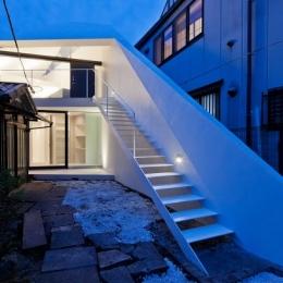 シャープな斜壁のあるアプローチ階段