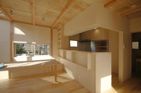 地下の音楽スタジオのある家の部屋 セミオープンなキッチン