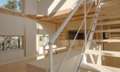 地下の音楽スタジオのある家 (ファミリールームと室内階段)