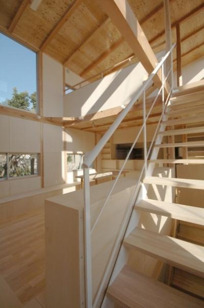 ファミリールームと室内階段 (地下の音楽スタジオのある家)