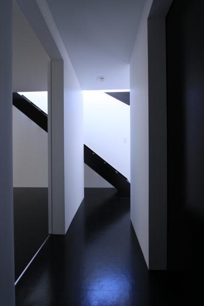 黒い床のホール (斜め窓の家 OUCHI-06)
