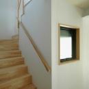 ロフトでつながる大屋根の家の写真 2階へ上がる階段