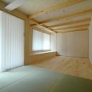 ロフトでつながる大屋根の家の写真 1階にあるタタミの寝室。