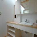 ロフトでつながる大屋根の家の写真 トップライトからの採光で明るい洗面室
