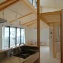 ロフトでつながる大屋根の家の写真 オープンなキッチンからリビングを見る