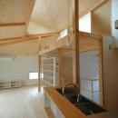 ロフトでつながる大屋根の家の写真 キッチンのダイニング側からリビングやロフトを見たところ