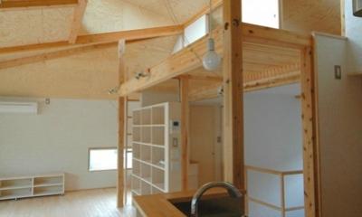 ロフトでつながる大屋根の家 (キッチンのダイニング側からリビングやロフトを見たところ)