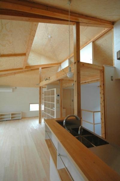 キッチンのダイニング側からリビングやロフトを見たところ (ロフトでつながる大屋根の家)