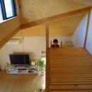 ロフトでつながる大屋根の家の写真 スノコの床になっているロフト