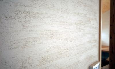 ロフトでつながる大屋根の家 (2階のホール壁面の珪藻土)