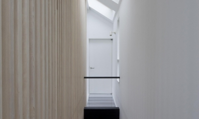 愛犬と暮らす家 地下室のあるOUCHI-13 (天窓の光を下ろす階段)