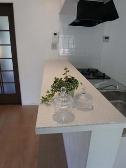 珪藻土&チェカーガラス (キッチン(カウンター))