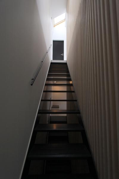 2階リビングへの階段 (愛犬と暮らす家 地下室のあるOUCHI-13)