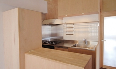 家具で仕切りをつくったマンションリノベ (あたらしくしつらえたコンパクトなキッチン)