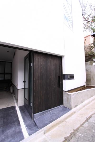 アプローチ・スライド式玄関ドア (愛犬と暮らす家 地下室のあるOUCHI-13)