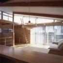 ヒノキの床の心地よい 2階リビングの写真 キッチンからダイニング、リビングとを見たところ