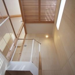 ヒノキの床の心地よい 2階リビング (階段を見上げるとロフトが)