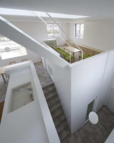 玄関とLDKを俯瞰する (曙橋の家 / 都心の小さな家)
